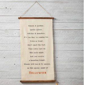 Halloween Canvas Wood Banner Long Door Hanger RAE